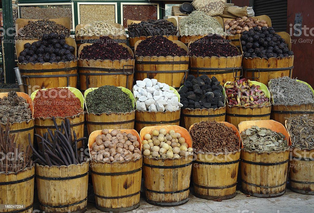 Spices in buckets royalty-free stock photo