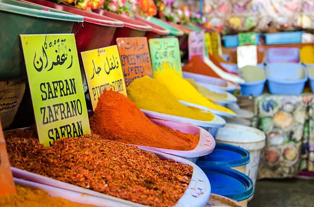 Especias en Gabes souk - foto de stock