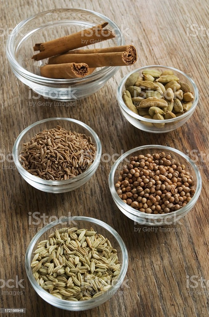 Spices in glass bowls. royalty-free stock photo