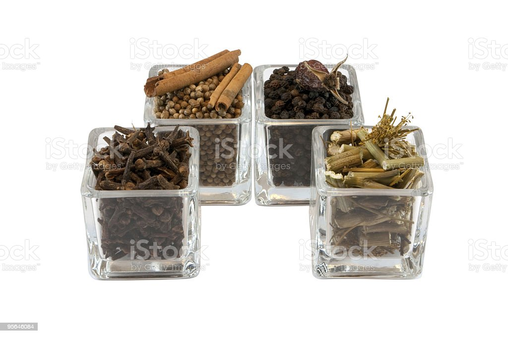 Spices in glass isolated royalty-free stock photo
