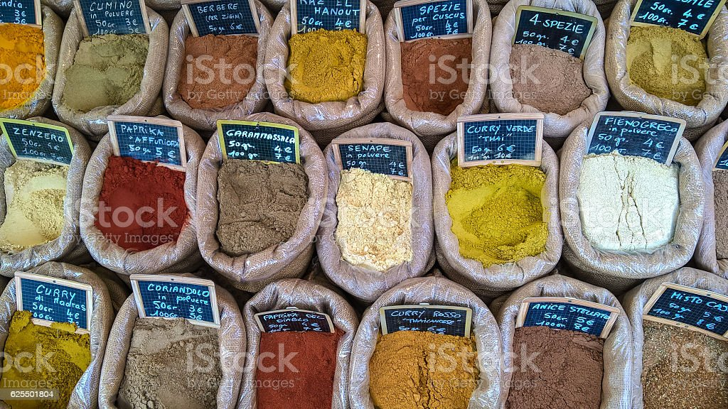 Spices in jute bag stock photo