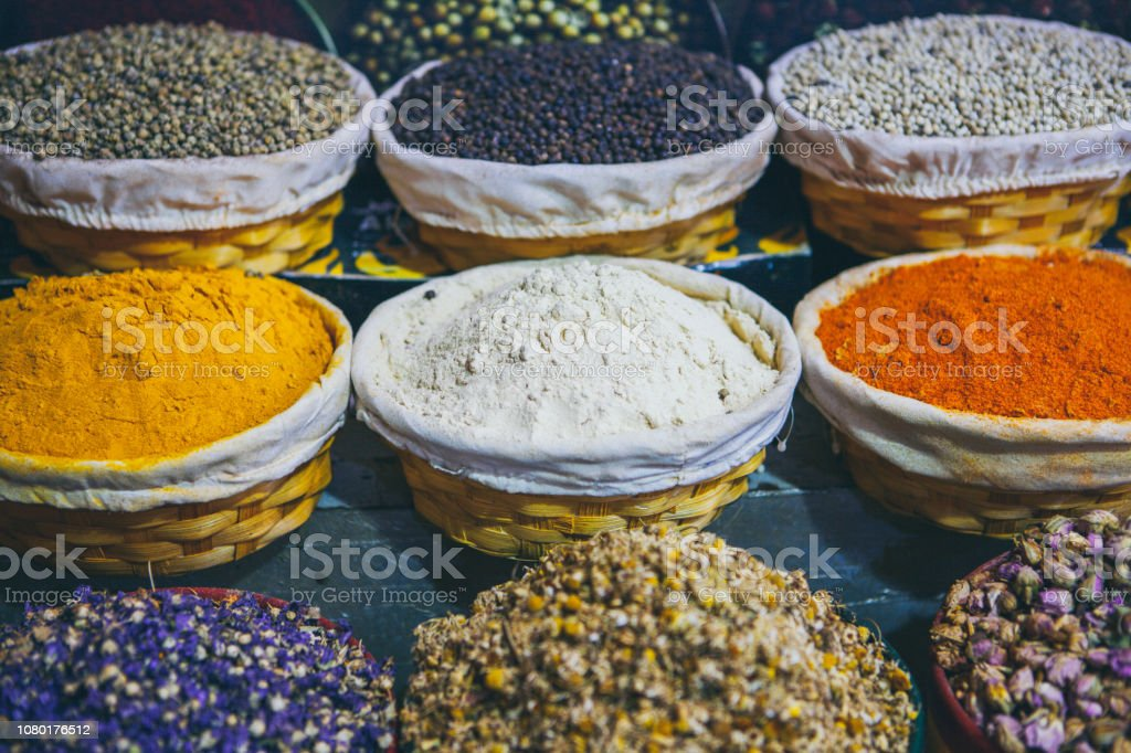Spices In Spice Market At Souk Abu Dhabi United Arab Emirates Stock