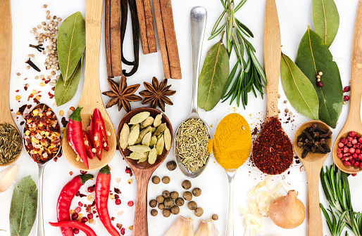 Spices In Spoons On White Background Top View Stock Photo - Download Image Now