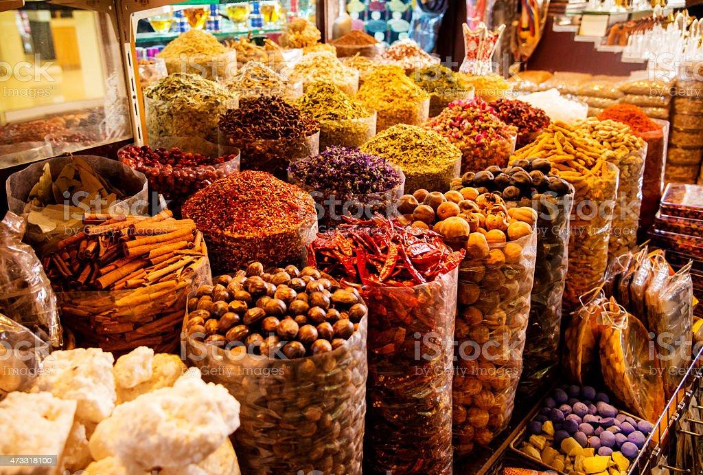 Spices in the spice souk in Dubai stock photo