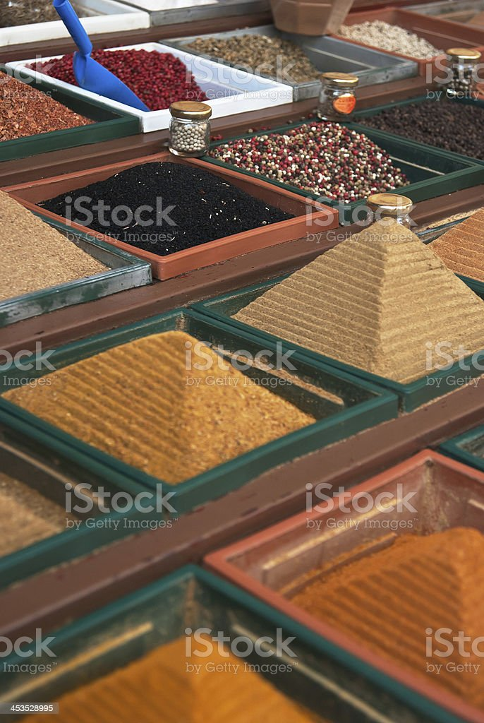 Spices in the Turkish market royalty-free stock photo