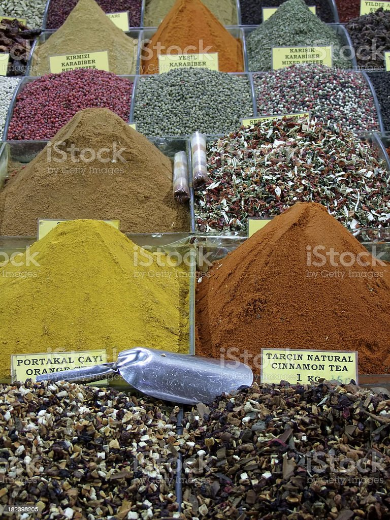 Spices in turkish bazaar royalty-free stock photo