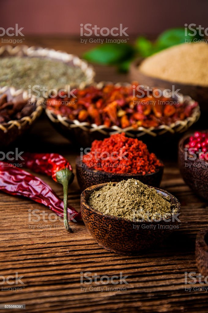 Spices In Wooden Indonesian Bowls Stock Photo & More Pictures of