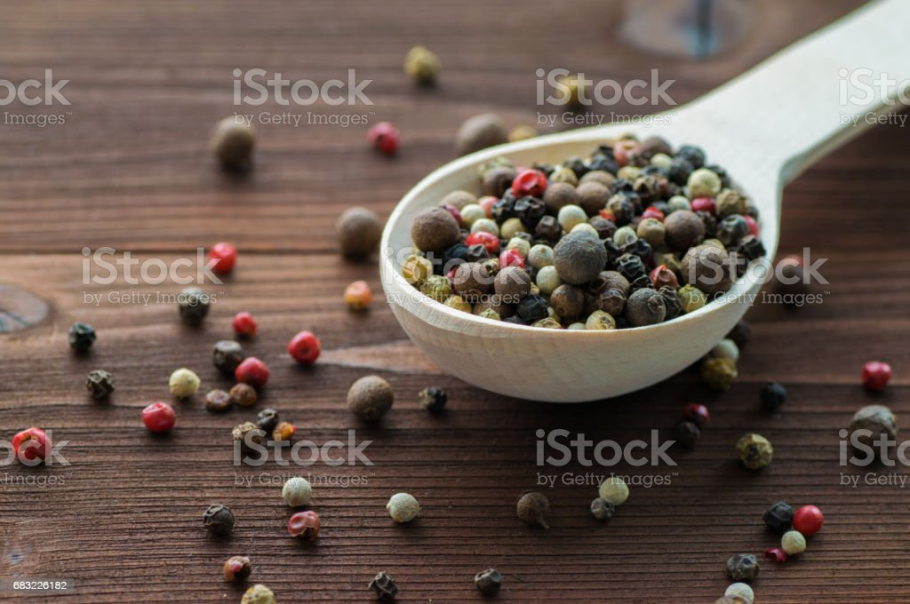 Spices in wooden spoon 免版稅 stock photo
