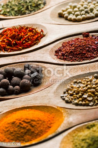 Spices in wooden spoons arranged in a row