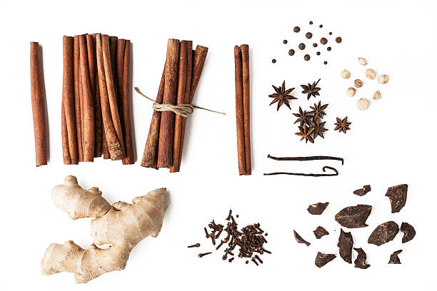 Spices mix with chocolate on the white background stock photo