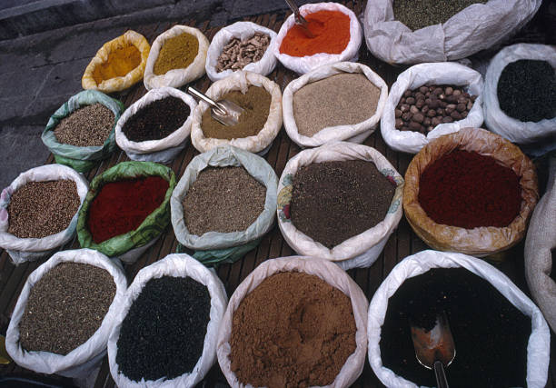 Spices, Nuts & seeds for sale stock photo