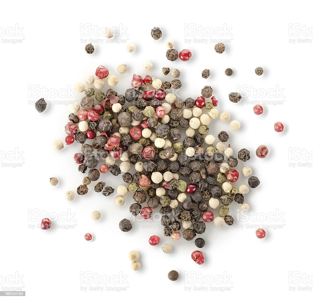 Spices of red and black pepper stock photo