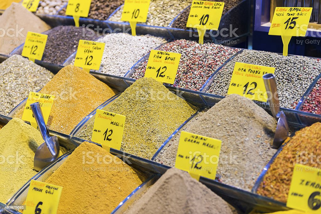 Spices on a Turkish market royalty-free stock photo