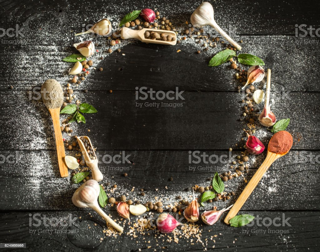 Spices on black background space for text stock photo