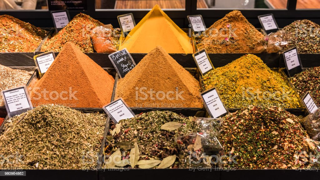 Spices On Display In A French Supermarket Paris France Stock
