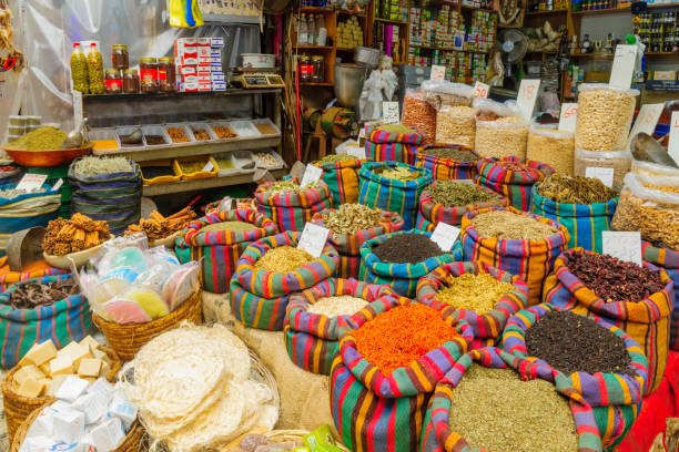 Spices on sale in the market, in Acre (Akko) stock photo