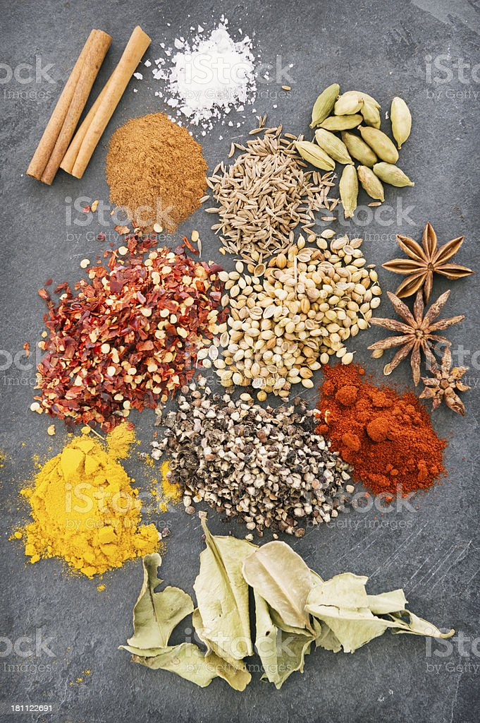 spices on slate surface royalty-free stock photo