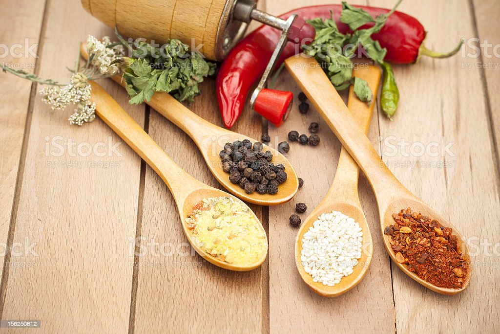 Spices on spoons royalty-free stock photo