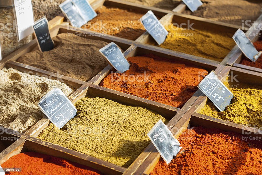 Spices on the market royalty-free stock photo