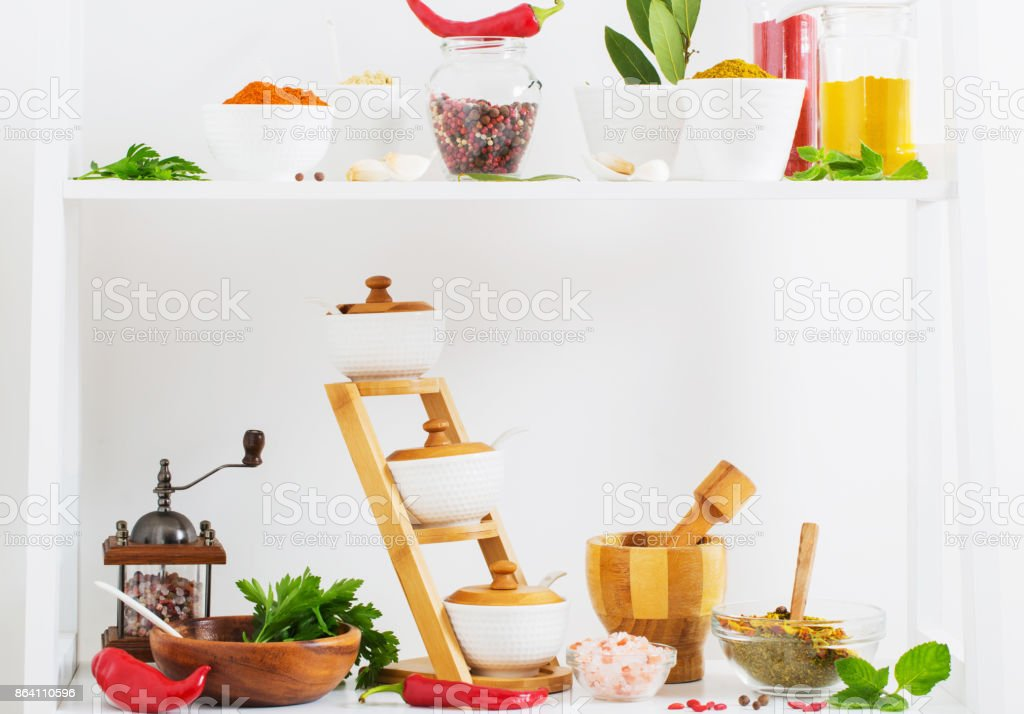 spices on white background royalty-free stock photo