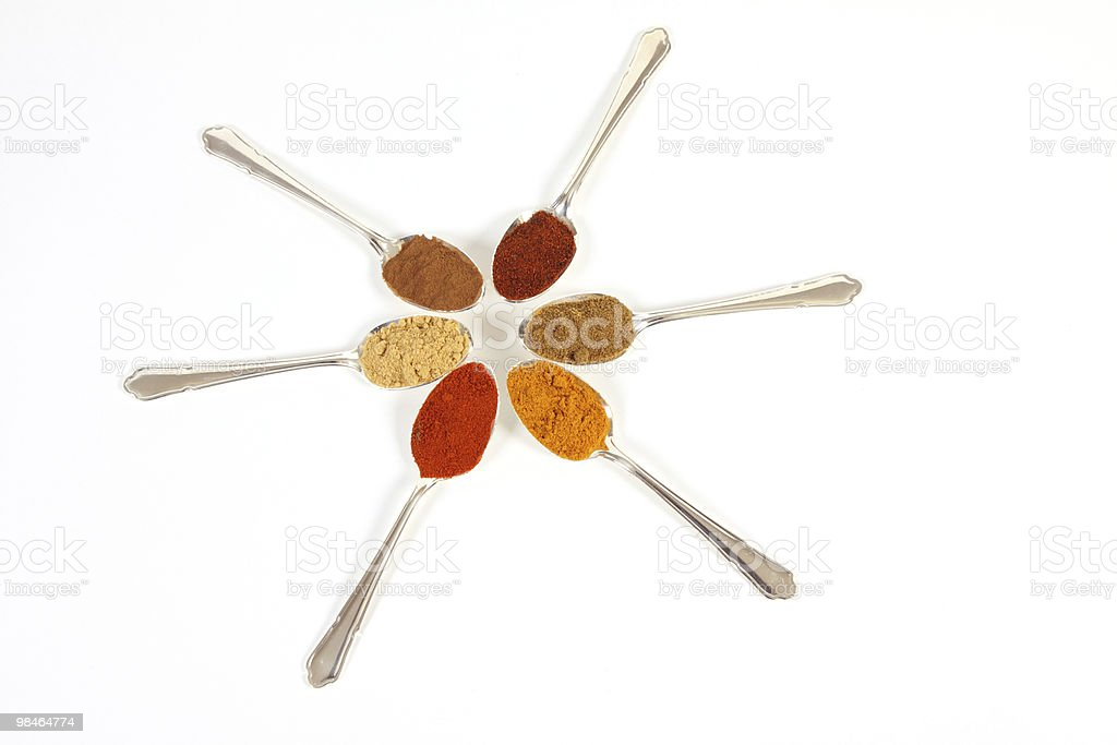 Spices On White royalty-free stock photo