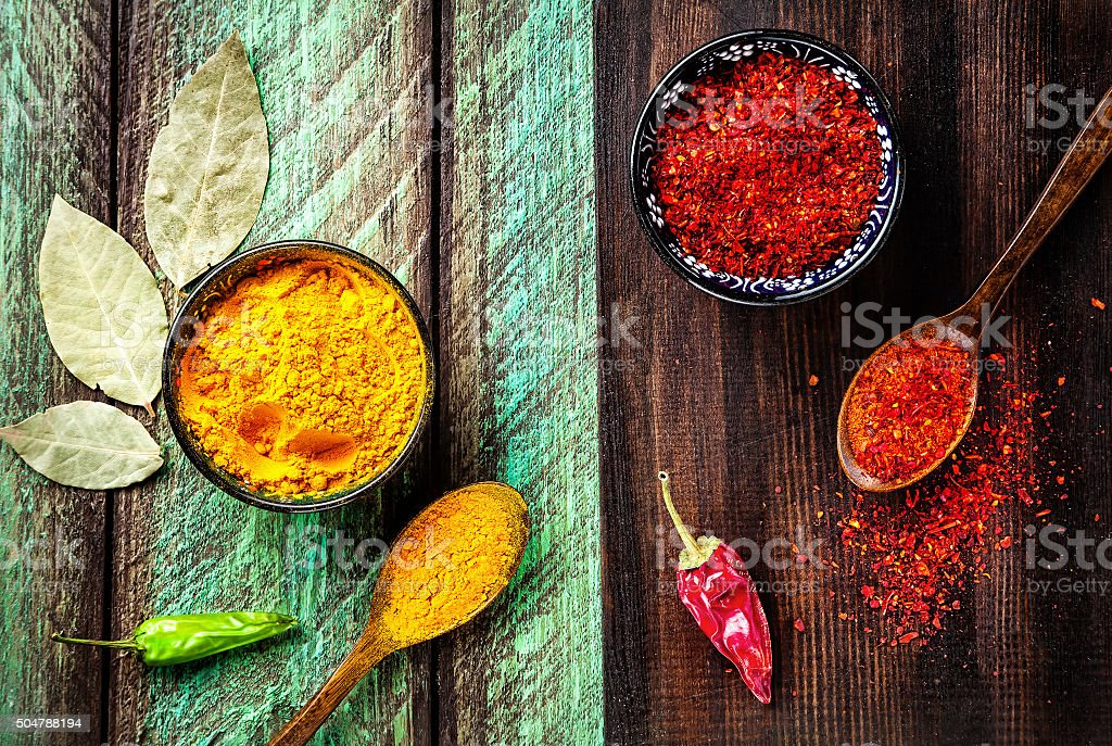 Spices on wooden background stock photo