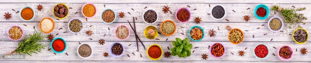 spices panoramic stock photo