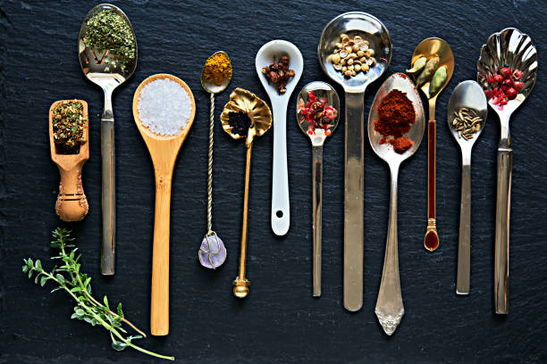 Spices various spices on spoons chinese herbal medicine stock pictures, royalty-free photos & images