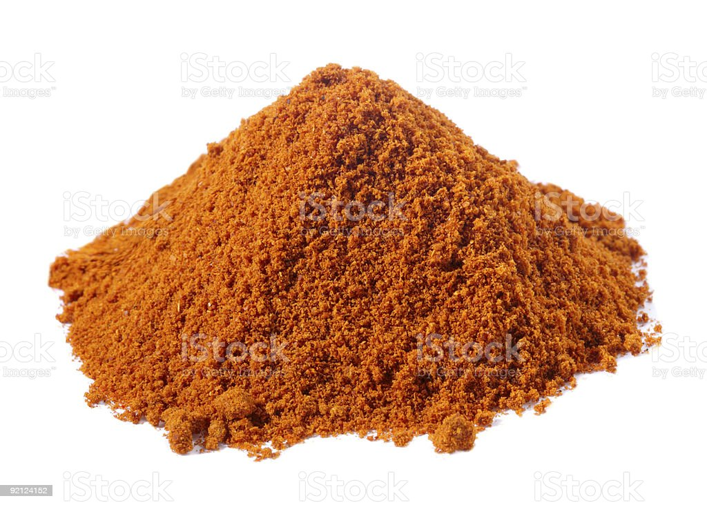 spices - pile of Kebab kabob masala over white royalty-free stock photo