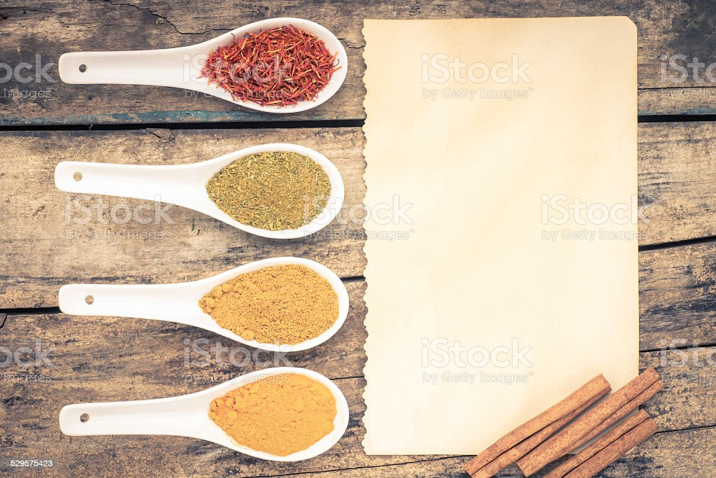 Spices recipe background. stock photo
