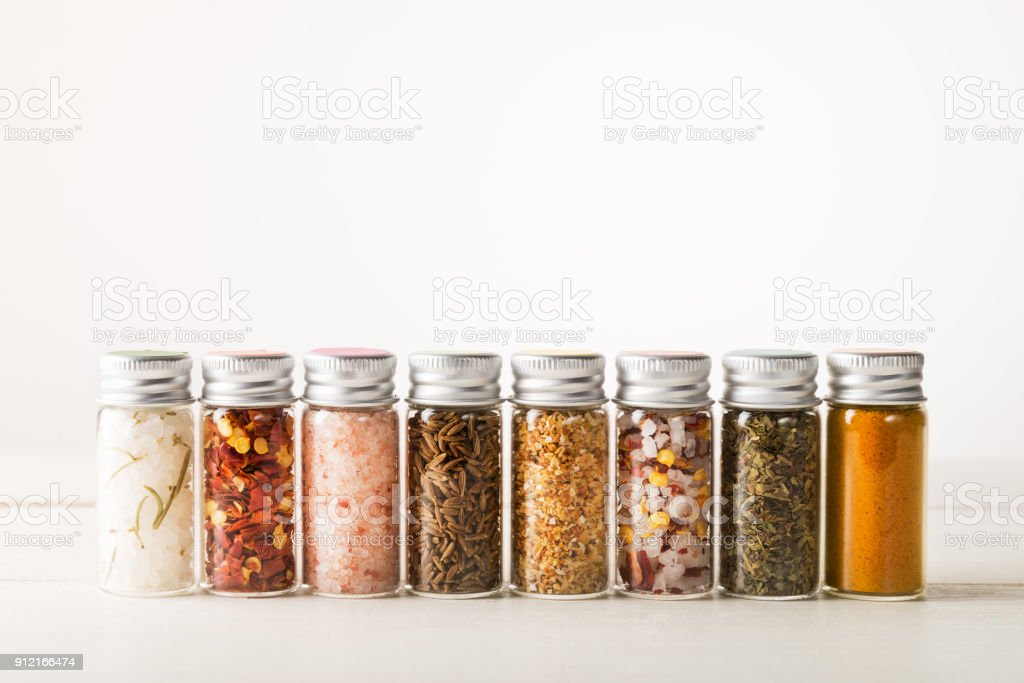 Spices Set in Mini Bottles foto stock royalty-free