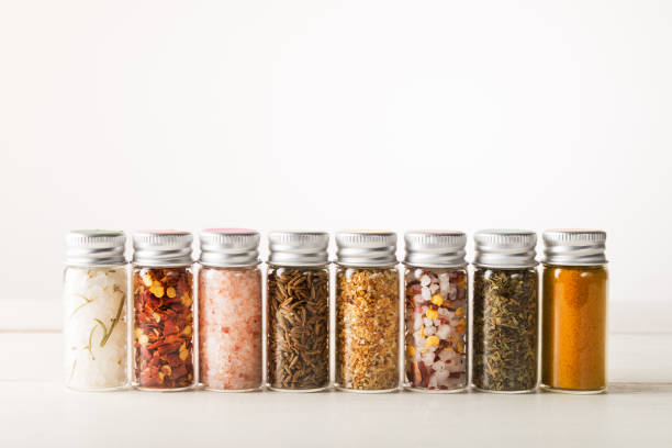 Spices Set in Mini Bottles stock photo