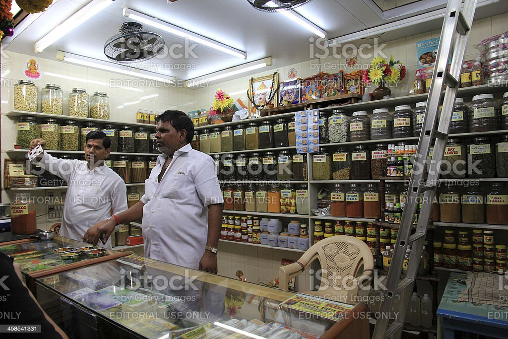 Spices Shop at Crawford Market, Mumbai royalty-free stock photo