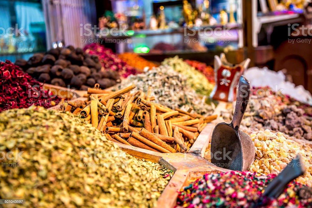 Spices souk in Dubaï stock photo
