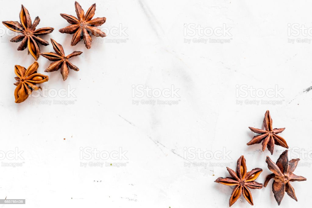 Spices, vanilla and herbs on white kitchen table background top view mock up royalty-free stock photo