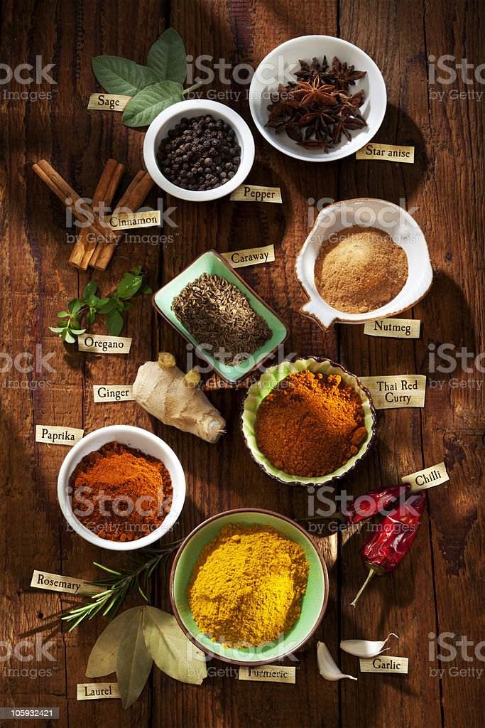 Spices with labels in english royalty-free stock photo