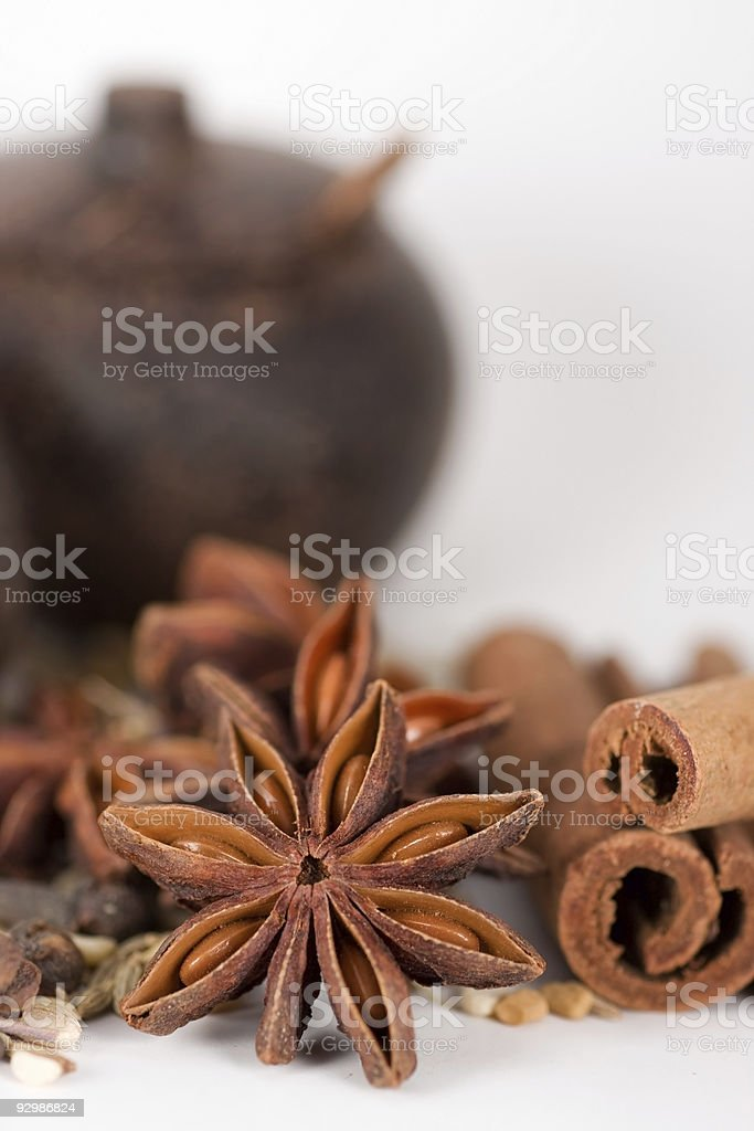 Spices & wooden jars royalty-free stock photo