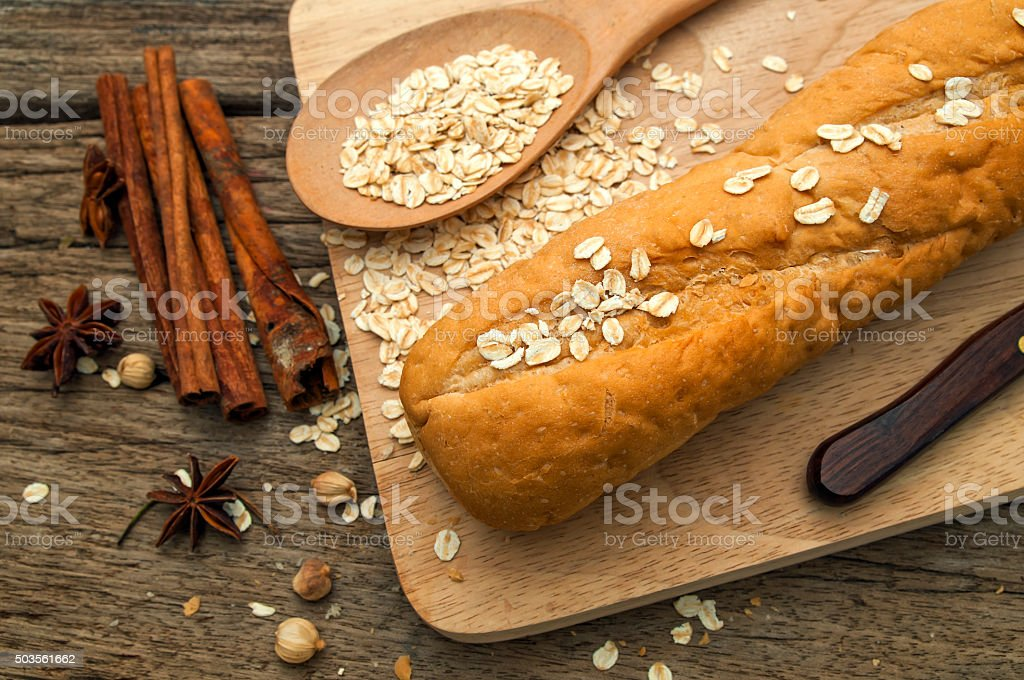 Spices,bread on a wooden table,thailand stock photo