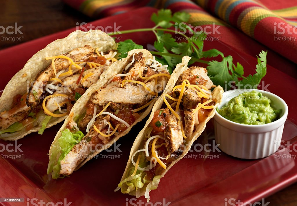 Spicey Chicken Tacos stock photo