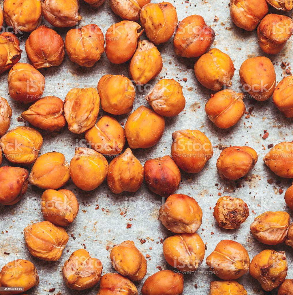 Spicy baked chickpeas stock photo