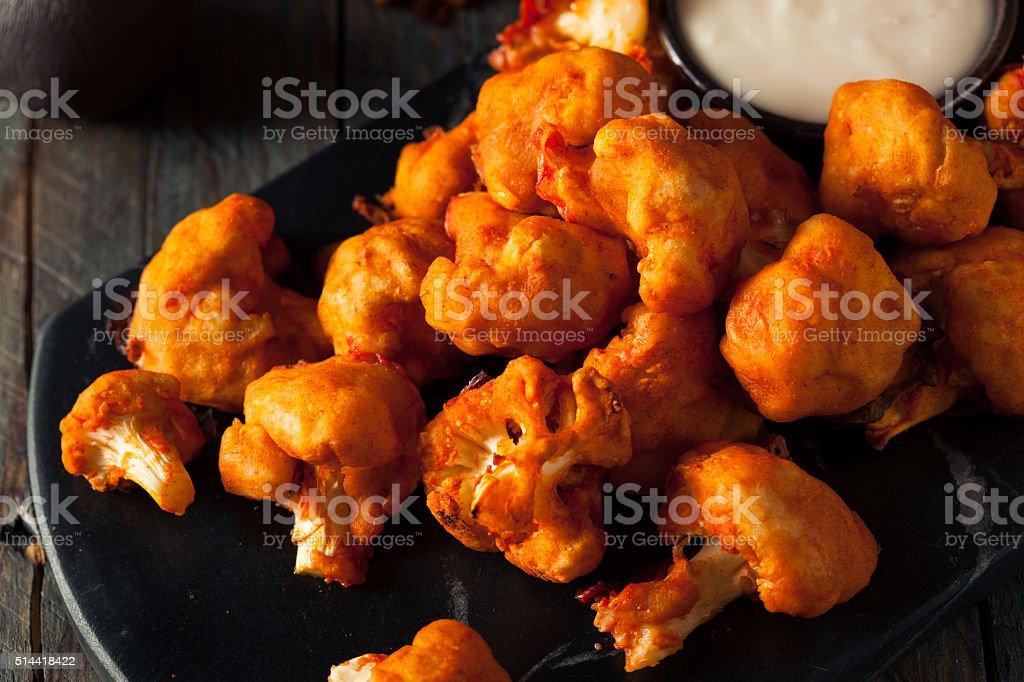 Spicy Breaded Buffalo Chicken Cauliflower stock photo