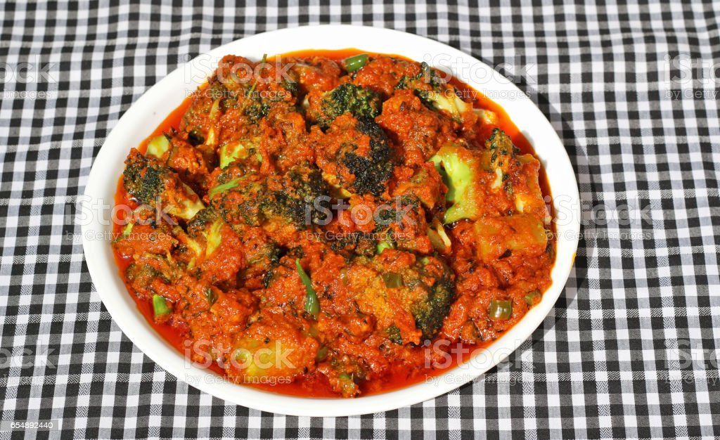 Spicy broccoli curry stock photo