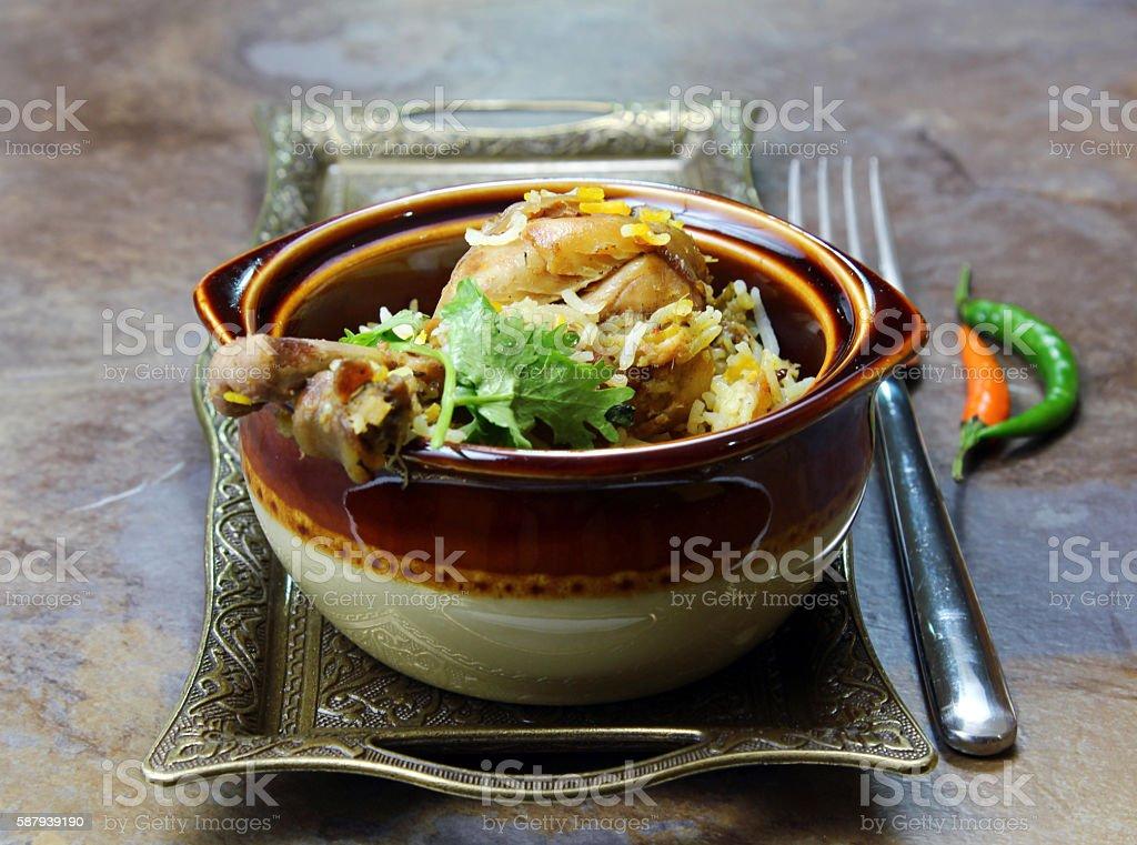 Spicy Chicken Biryani stock photo