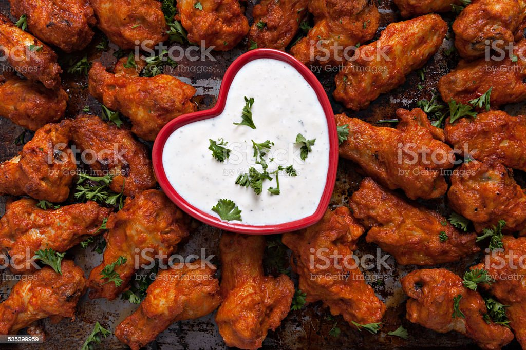 Spicy Chicken Wings And Dip stock photo