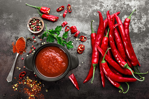 Spicy Chili Sauce Ketchup Stock Photo - Download Image Now