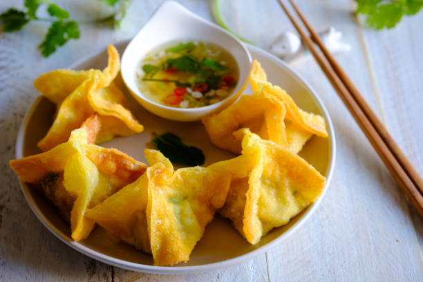 Spicy Crispy Wonton with Pork and Prawns Filling stock photo