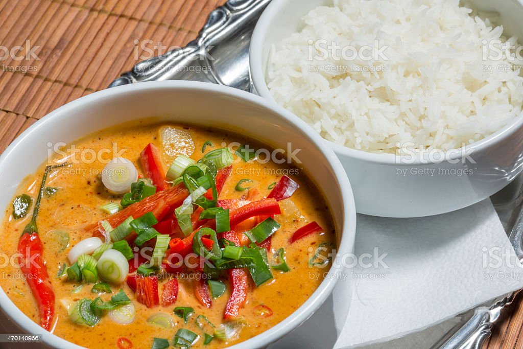 Spicy curry with vegetables - Chiang Mei stock photo
