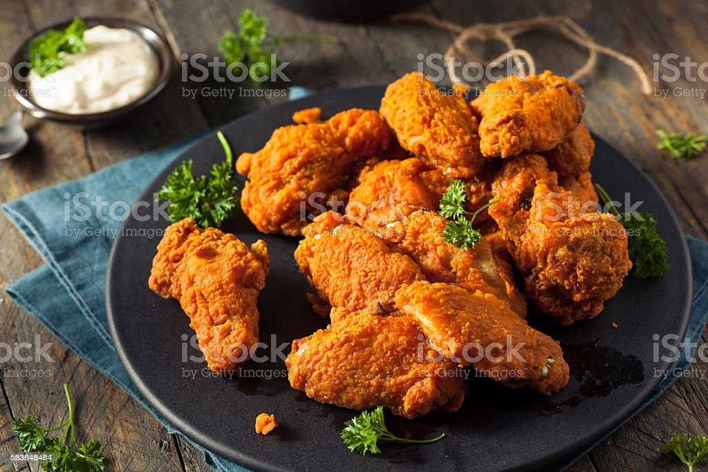 Spicy Deep Fried Breaded Chicken Wings stock photo