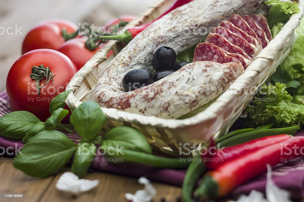 Spicy dried Salami royalty-free stock photo