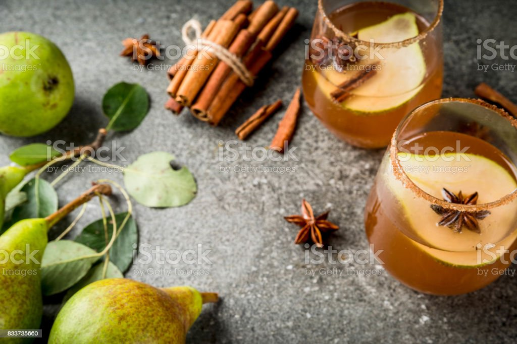 Spicy fall pear cocktail stock photo